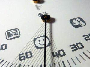 Raumklima und Luftfeuchtigkeit im Blick haben mit einem Hygrometer; Bild: Lupo / pixelio.de