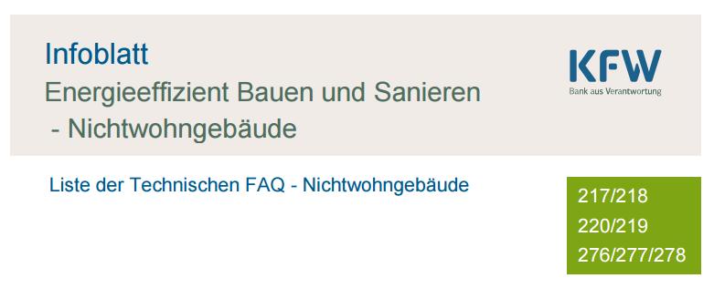 Neue Technische FAQ der KfW für Nichtwohngebäude
