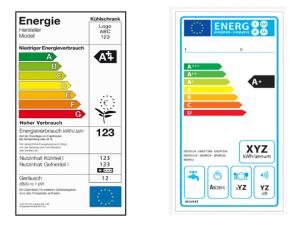 Altes Label (links, Beispiel Kühlschrank) und neues Label (rechts, Beispiel Geschirrspüler) (Quelle: HEA)